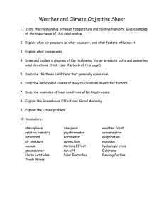 Weather and Climate Objective Sheet