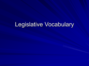Legislative Vocabulary