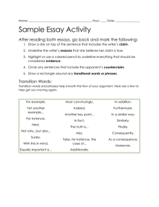 Sample Essay Activity