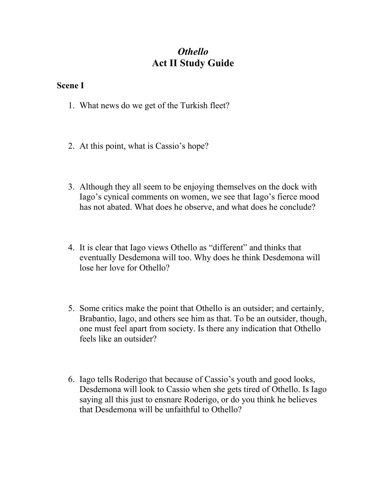 othello study guide answers pdf