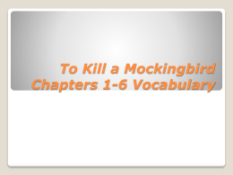 To Kill a Mockingbird Chapters 1-6 Vocabulary