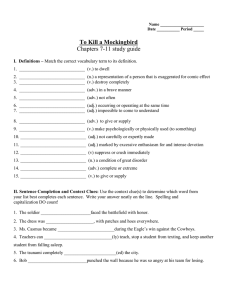 To Kill a Mockingbird Chapters 7-11 study guide