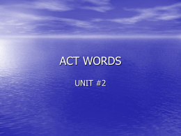 ACT WORDS UNIT #2