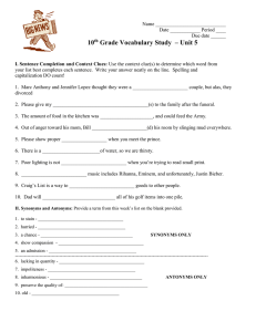 10 Grade Vocabulary Study  – Unit 5