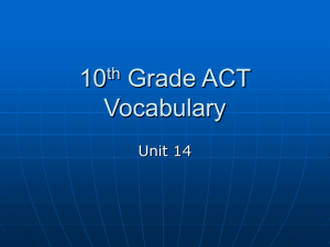 10 Grade ACT Vocabulary th