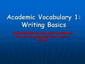 Academic Vocabulary 1: Writing Basics Copy definitions onto your worksheet