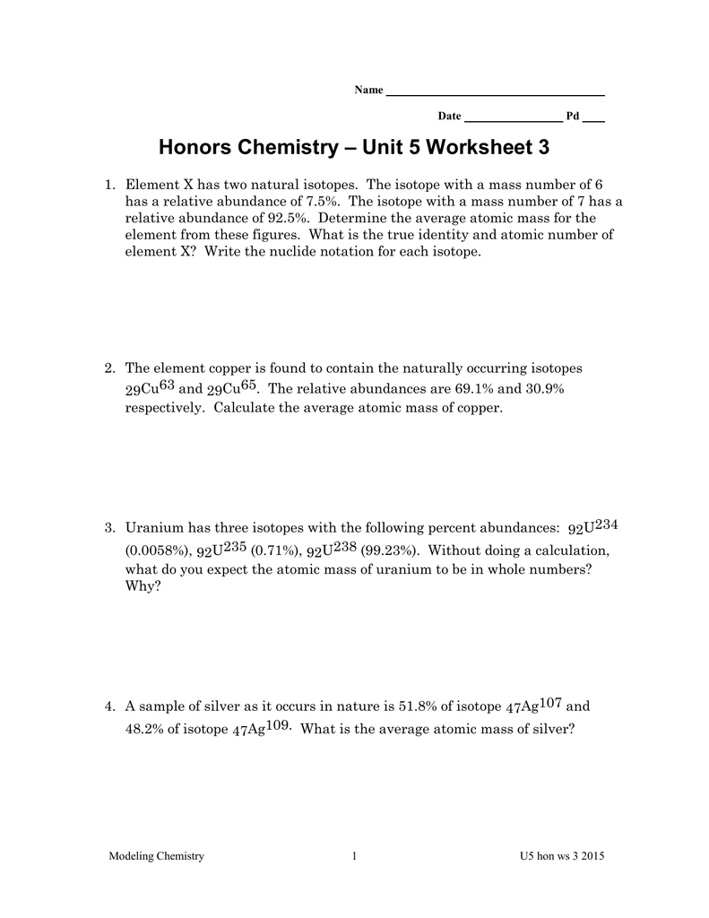 Unit 5 Worksheet 3 Honors Chemistry – Chemistry Unit 1 Worksheet 3