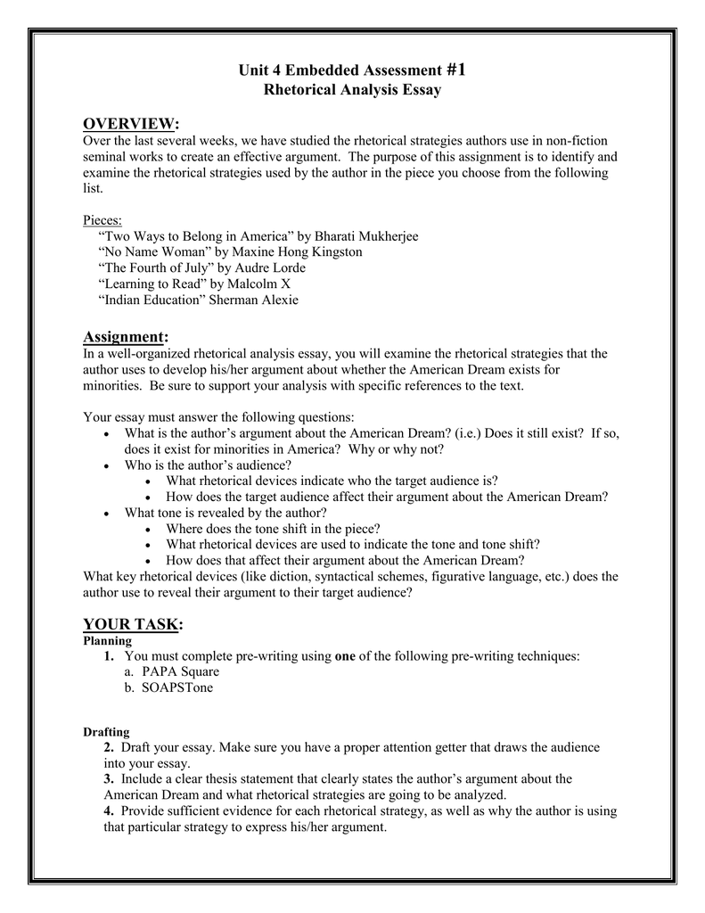Unit  Embedded Assessment Rhetorical Analysis Essay Overview  Unit  Embedded Assessment Rhetorical Analysis Essay Overview