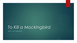 To Kill a Mockingbird UNIT 2 VOCABULARY