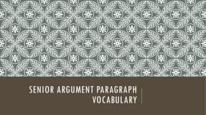 SENIOR ARGUMENT PARAGRAPH VOCABULARY