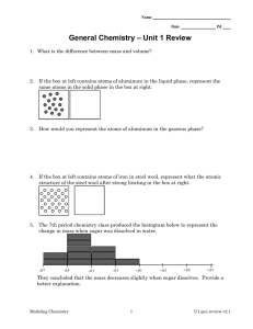 – Unit 1 Review General Chemistry