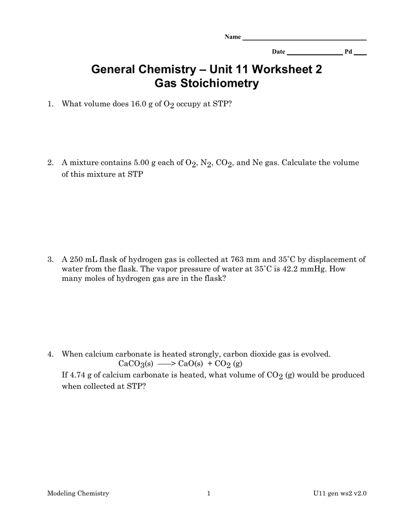 unit 11 worksheet 2 general chemistry gas stoichiometry - Gas Stoichiometry Worksheet
