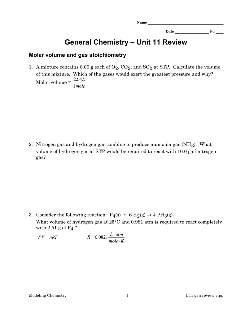 Unit 11 Review General Chemistry Molar volume and gas stoichiometry – Gas Stoichiometry Worksheet