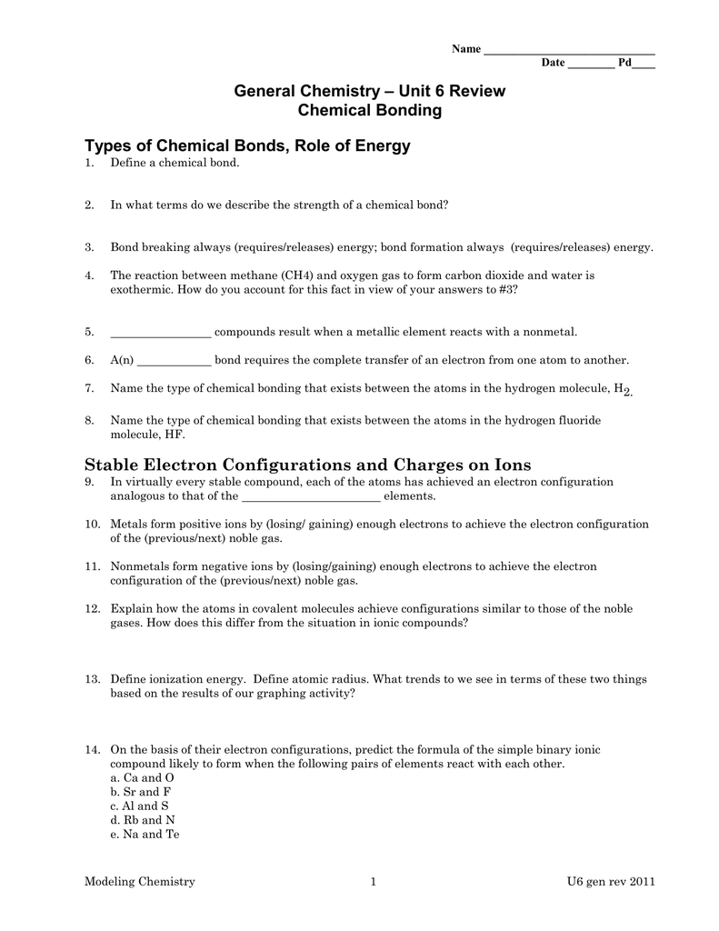 Worksheets Types Of Chemical Bonds Worksheet unit 6 review general chemistry chemical bonding bonding