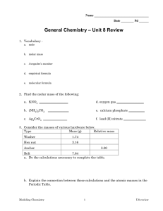 – Unit 8 Review General Chemistry