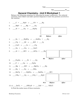 General Chemistry - Unit 9 Worksheet 1