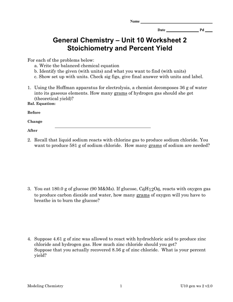 Stoichiometry worksheet 2 percent yield