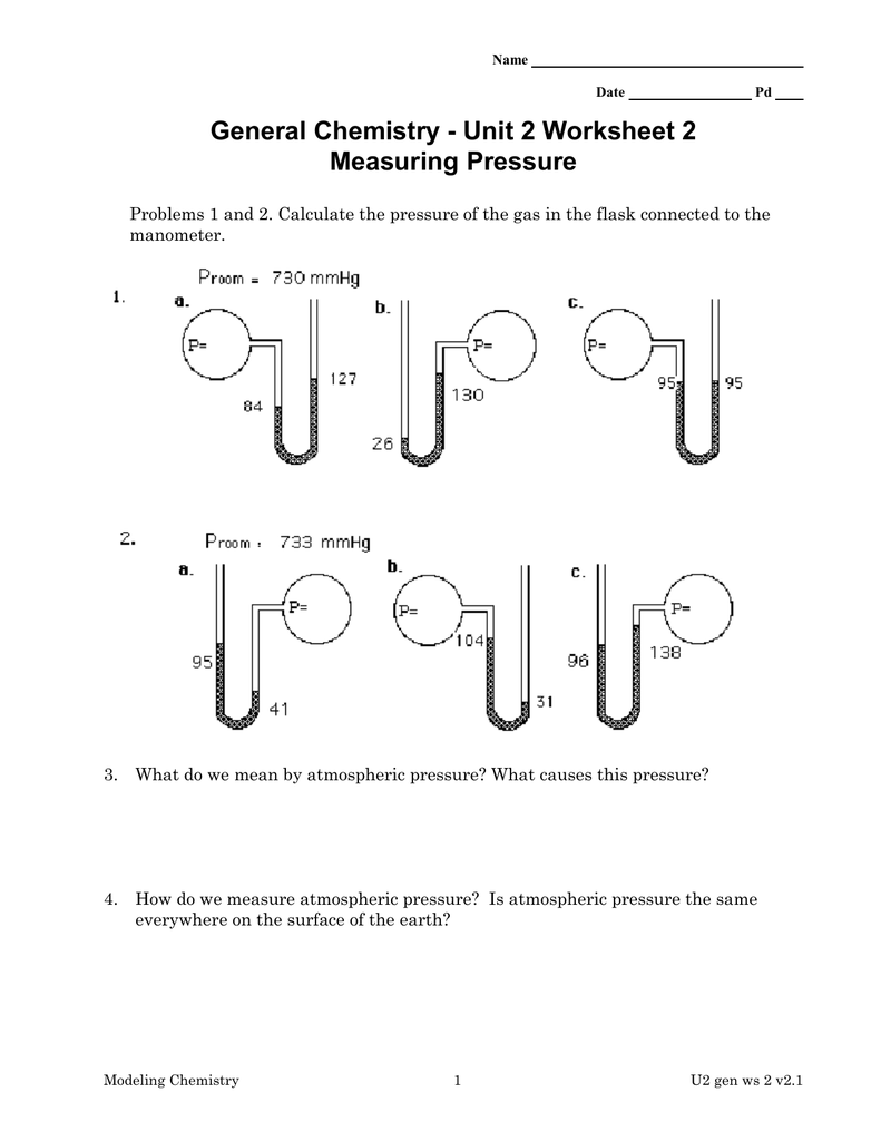 General Chemistry Unit 2 Worksheet 2 Measuring Pressure – Chemistry Unit 5 Worksheet 2 Answer Key