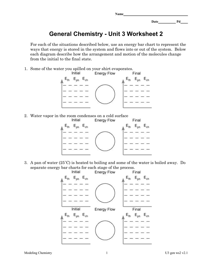 General Chemistry - Unit 3 Worksheet 2