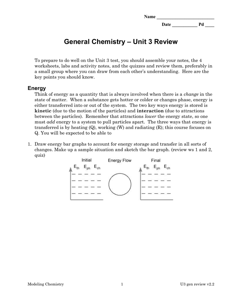 Unit 3 Review General Chemistry
