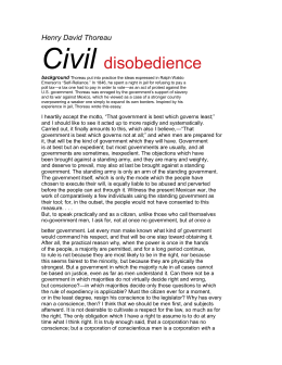 thesis statement of civil disobedience Example: in order to be effective, an act of civil disobedience must be non-violent the body of the essay would then address why non-violence is necessary when committing acts of civil disobedience.