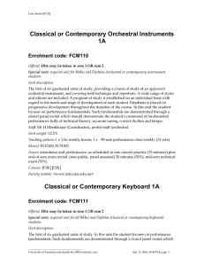 Classical or Contemporary Orchestral Instruments 1A Enrolment code: FCM110