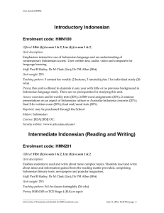 Introductory Indonesian Enrolment code: HMN100