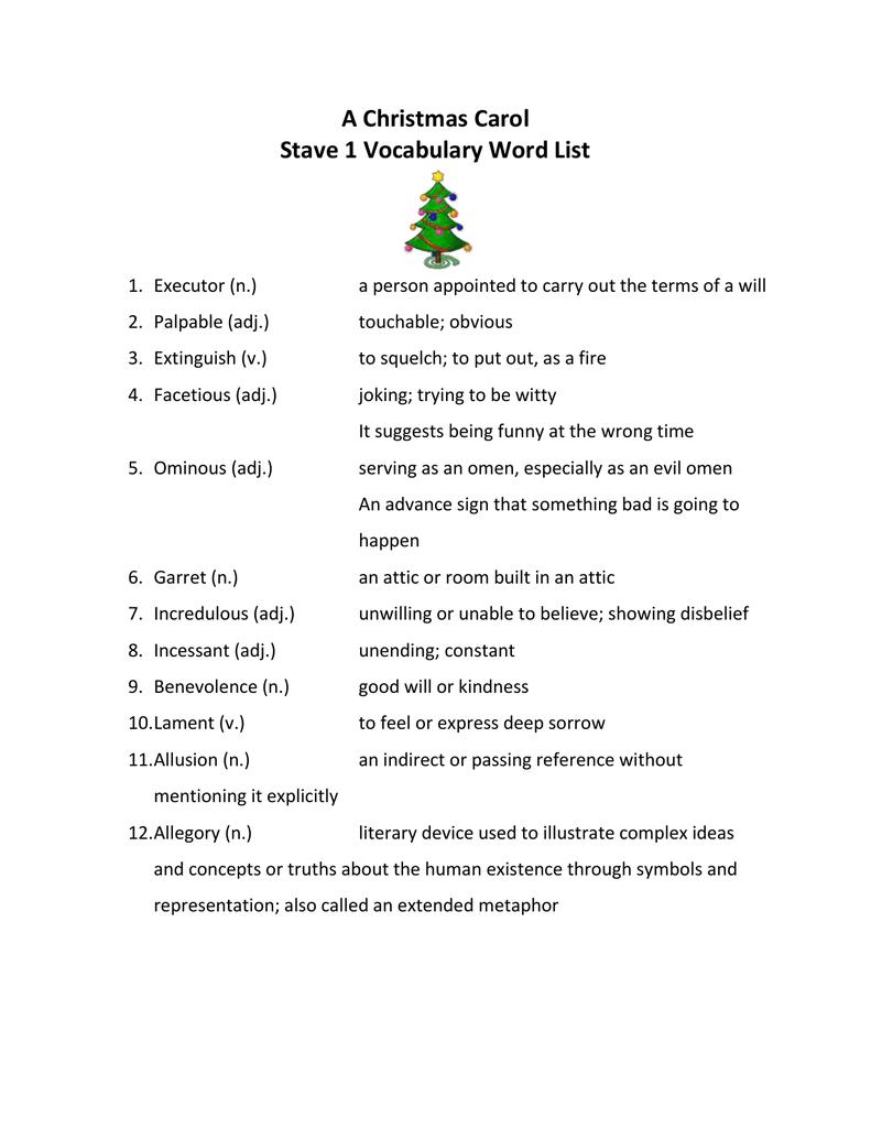 Christmas Carol Stave 1 Vocabulary Word