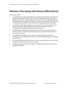 Bachelor of Surveying with Honours (BSurv(Hons))