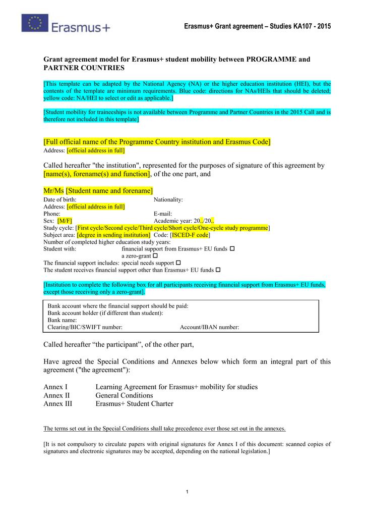 Erasmus Grant Agreement Studies Ka107 2015