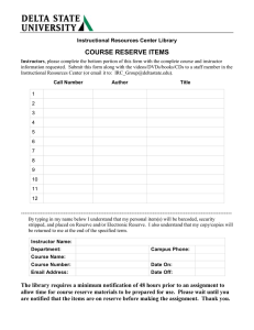 COURSE RESERVE ITEMS Instructional Resources Center Library