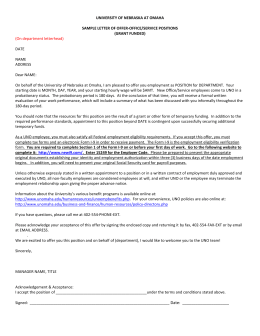 UNIVERSITY OF NEBRASKA AT OMAHA  SAMPLE LETTER OF OFFER-OFFICE/SERVICE POSITIONS (GRANT FUNDED)