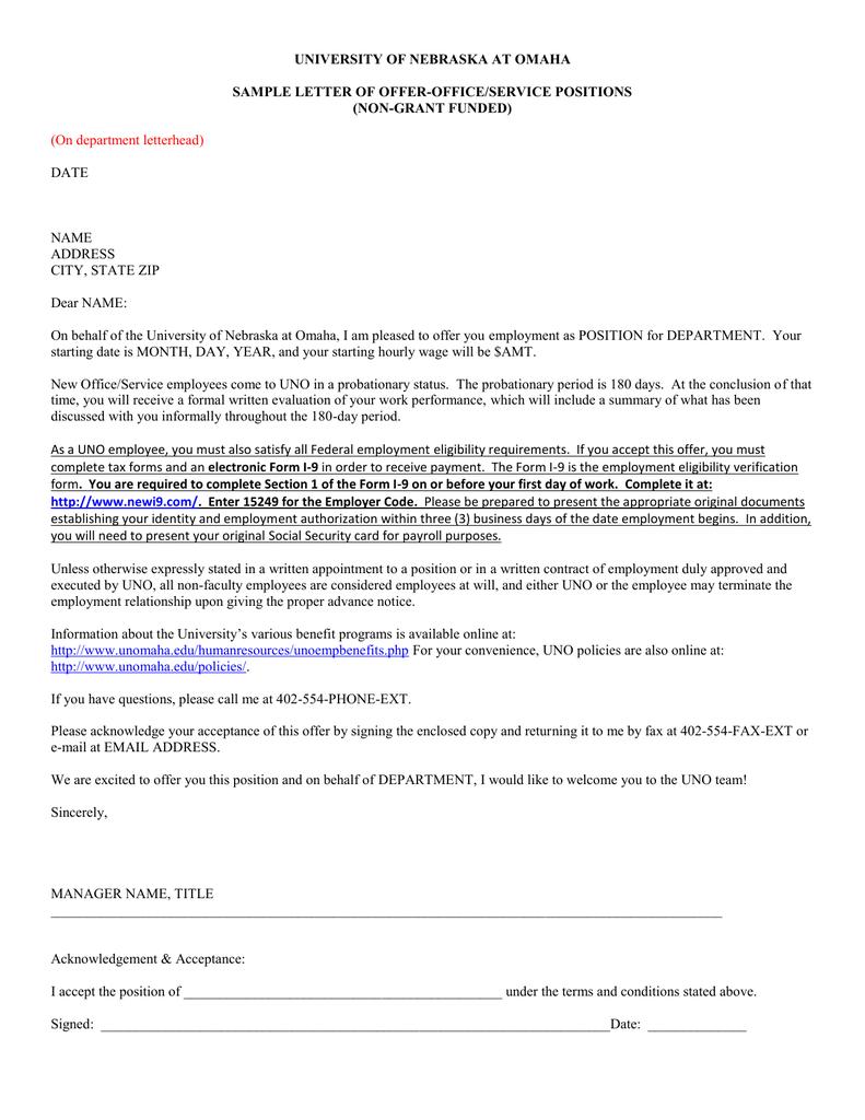 university of nebraska at omaha sample letter of offer office university of nebraska at omaha sample letter of offer office service positions non grant funded