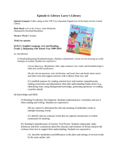 Episode 6: Library Larry's Library  §110.13. English Language Arts and Reading,