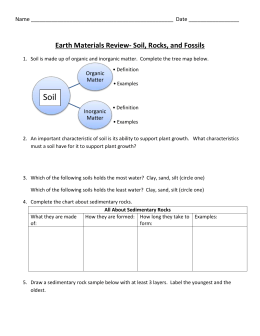 Earth Materials Review- Soil, Rocks, and Fossils  Organic