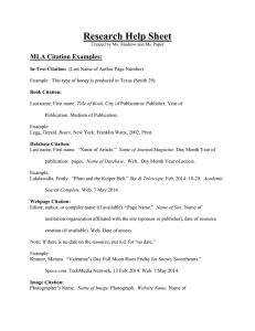 Research Help Sheet MLA Citation Examples: