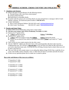 MIDDLE SCHOOL CROSS COUNTRY 2013 POLICIES