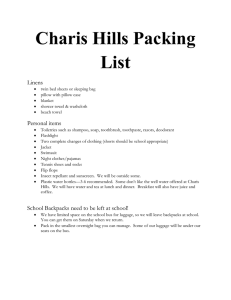 Charis Hills Packing List Linens
