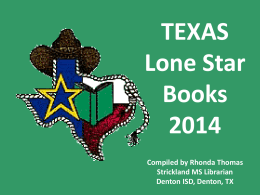 TEXAS Lone Star Books 2014