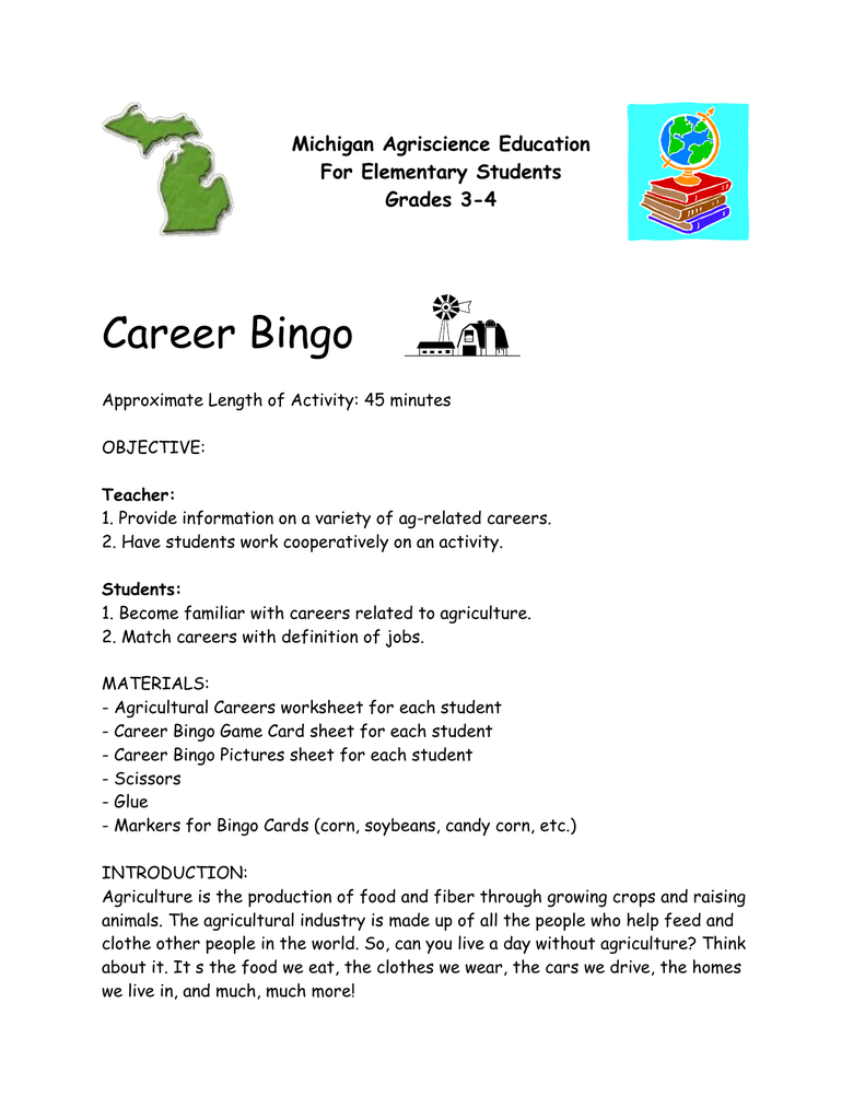 Career Bingo Michigan Agriscience Education For Elementary Students