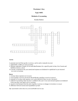 Worksheet 1 Key  Topic #4051 Methods of Accounting