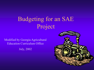 Budgeting for an SAE Project Modified by Georgia Agricultural Education Curriculum Office