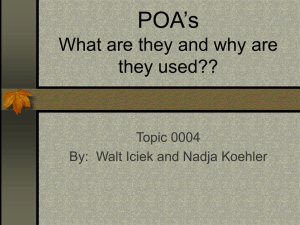 POA's What are they and why are they used?? Topic 0004