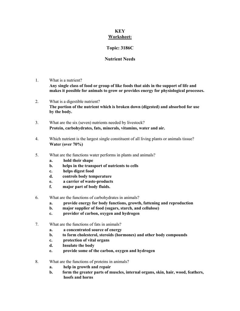 KEY Worksheet: Topic: 3186C Nutrient Needs