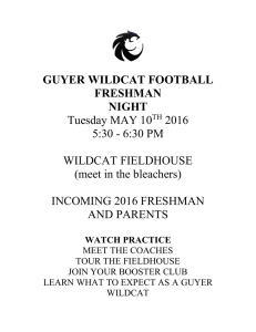 GUYER WILDCAT FOOTBALL FRESHMAN NIGHT Tuesday MAY 10