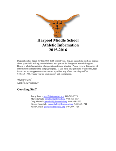 Harpool Middle School Athletic Information 2015-2016