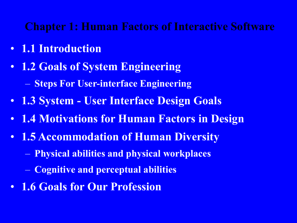 Chapter 1 Human Factors Of Interactive Software 1 1 Introduction