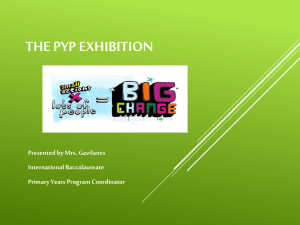 THE PYP EXHIBITION Presented by Mrs. Gavilanes International Baccalaureate Primary Years Program Coordinator