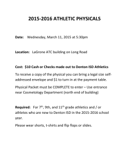 2015-2016 ATHLETIC PHYSICALS