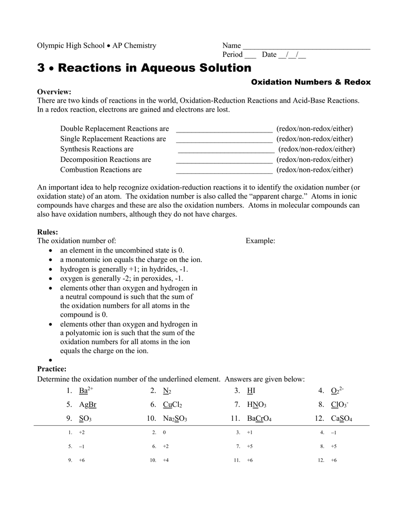 Oxidation Reduction Reactions Worksheet Answers ...